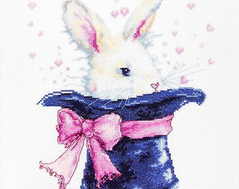 Rabbit in the Hat Counted Cross Stitch Kit Rabbit in the Hat Counted Cross Stitch Kits Luca-S DIY Kit