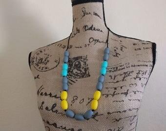 Yellow, Gray, and Turquoise Teething/Sensory/Nursing Necklace