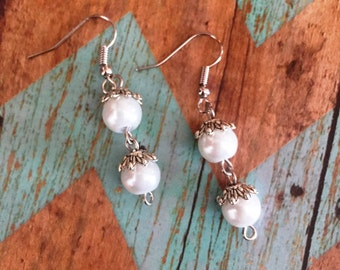 Round Glass Pearl Dangle Earrings QTY 6 (ER-100)