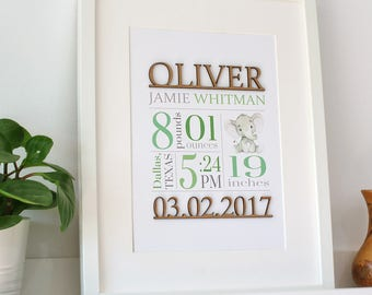 Birth Stats Print, Wood Cut Sign, Green Birth Stats, Baby Stats, Green and Gray Nursery Decor, Custom Birth Announcement, New Baby, 8x10, A4