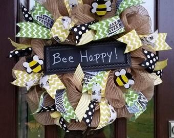Bee Happy Deco Mesh Front Door Wreath