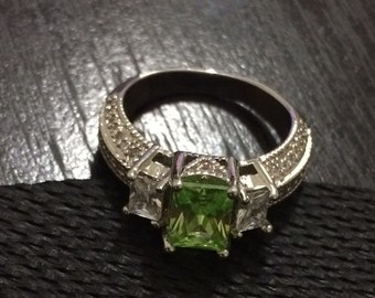 Sterling silver, green gem ring
