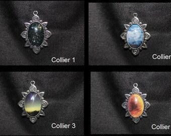 Cameo necklace sky - cabochon - cloud - space-