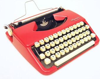 Red Typewriter - Olympia Splendid 33 - Fully Working - Serviced - Vintage Typewriter