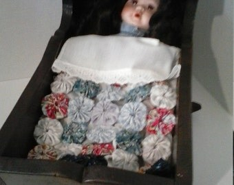 Victorian Baby In Crib with home made linens