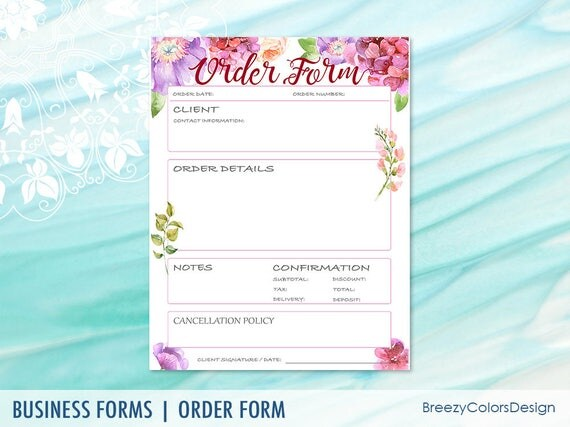 embroidery order form template free - watercolor order form templates simple sales book craft