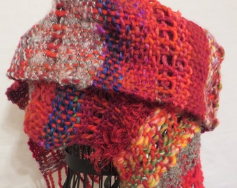 scarf, handwoven, leno-lace, wool, mohair, fluffy, cuddly, red, grey, purple