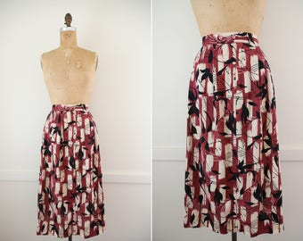 1960's Doncaster High Waisted Pleaded Midi Skirt