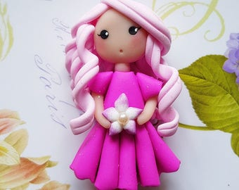 Necklace doll Flower Pink