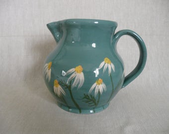 Large handmade pottery jug. Milk jug. Daisy jug. Utensil jug.