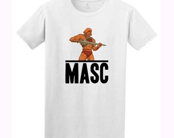 He-Man Masc or Power Bottom WhiteTee  - Masc Retro 80's Cartoon Butch Gay Gift, LGBT 90's