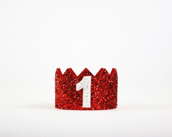 Pet Birthday Hat // Dog Birthday Hat // Dog Puppy Cat Kitten Pig Birthday Crown // Red Glitter