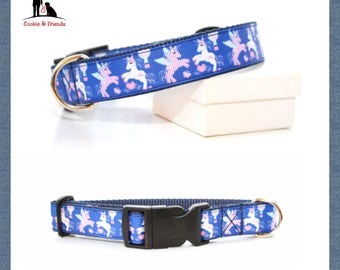 "Dog collar ""Dancing unicorns"""