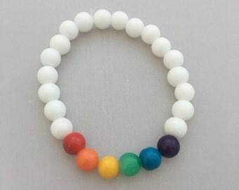 Gay Pride Bracelet White