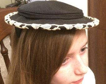1950s vintage hat-flat hat, pancake hat, black with leaf accents