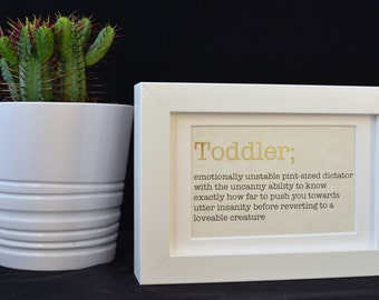 Urban Dictionary Wall Art / Toddler Definition / Dictionary Art / Funny Definition / Word Art