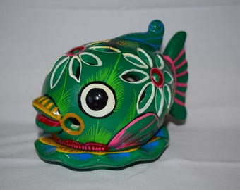 Hand made and hand painted Green fish folk art candle holder.
