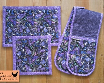 Double Oven Glove / Oven Mitts / Potholder and Hot Pad Set - Kitchen Decor Butterfly Wing, Housewarming Gift Purple, Mum Gift Butterflies