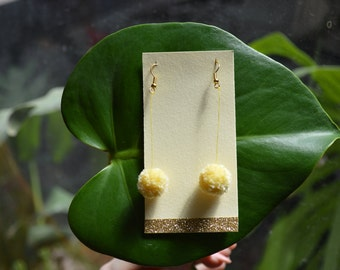 Pale Yellow Pom Pom earrings