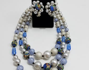 Gorgeous Triple Strand Beaded Necklace and Matching Clip Earrings Japan