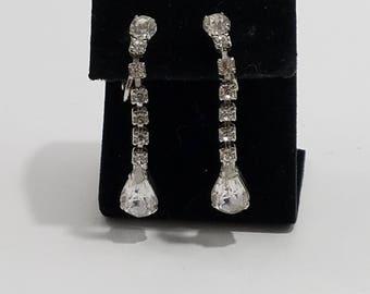 Gorgeous Rhinestone Dangle Clip Earrings