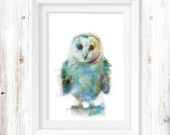 Watercolor OWL Digital Print INSTANT Download