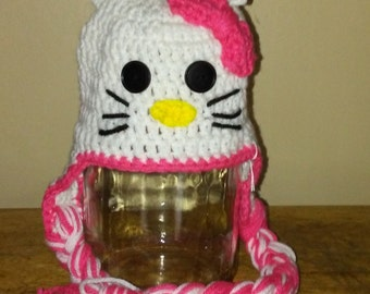 Crocheted Hello Kitty infant and childrens hats