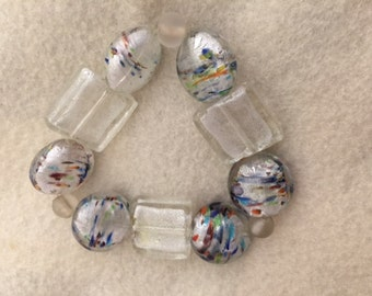 Glass Bead Bracelet with Multicolor Accents