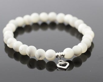 Mother of Pearl Bracelet with Sterling Silver Open Heart Charm