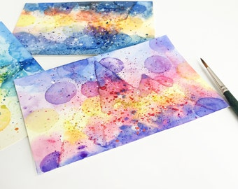 Watercolor postcard, Original watercolor painting, lanscape painting,Sunrise sunset and night,Misty moutain postcards--Set of three, gift