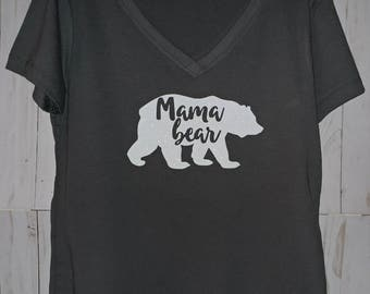 Mama Bear V Neck Shirt, Mama bear, Mom shirt, Mama shirt, Mom life shirt, black shirt, black v neck