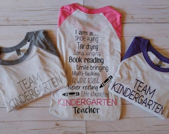 Kindergarten Teacher Shirt. Teacher Raglan. Teacher Tee. Teacher Saying Shirt. Teacher Baseball Tee