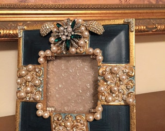 Jeweled Picture Frame, Vintage Pearled with Rhinestone