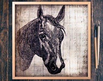 Horse Wall Art Large Square, Farmhouse Style Printable Sign, Living Room Art, Sweet Horse Head, Large Cute Eyes Instant Download (#9144b)