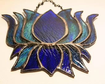 Stained glass lotus flower wall hanging, sun catcher