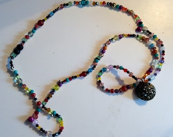 """""""Hodgepodge"""" of frosted glass or Crystal beads long necklace"""