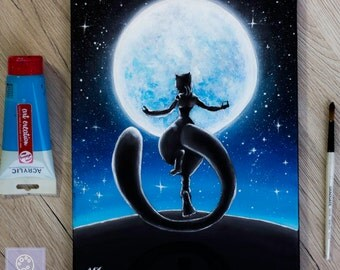 Mewtwo under the moon Pokemon Painting