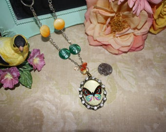 Butterfly Pendant Necklace with Rhinestones