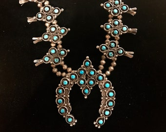 Native American squash blossom necklace, Zuni-made in the 1970s, sterling silver with turquoise