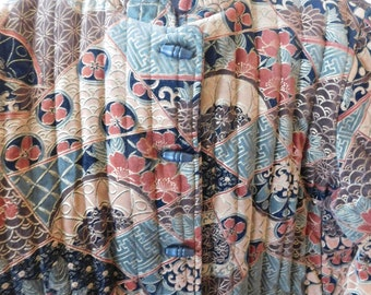 Vintage Jacket Quilted Oriental Style in Brown  and Green Tones Size Large
