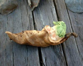 Baby fairy 1 wrapped in leaf fairy garden terrarium collectible figurine