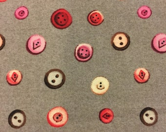 Button Fabric/ Grey w/ pinks