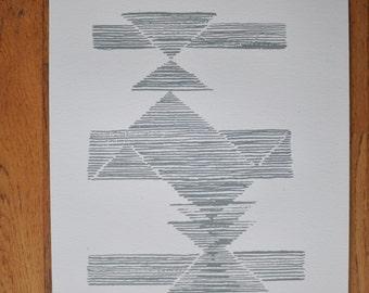 Valley -Mid century, fifties inspired abstract screenprint. Modern, original, handmade fine art print, grey.