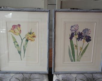2 Annabel Fairfax Floral Watercolour Painting Prints, Iris & Tulips.