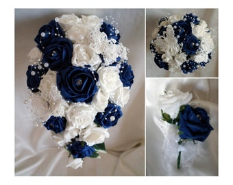 Wedding Flowers Navy & White wedding bouquets with butterflies, Brides, Bridesmaids, Flowergirls etc