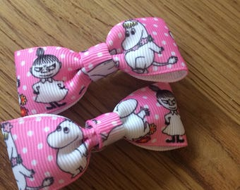 Moomin pink hair bow clips