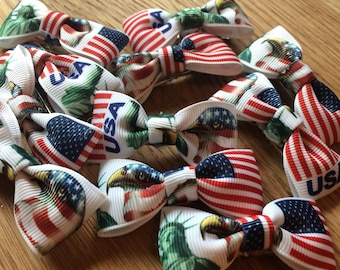 4th july USA flag/Statue of Liberty Flag ribbon hair bow clips