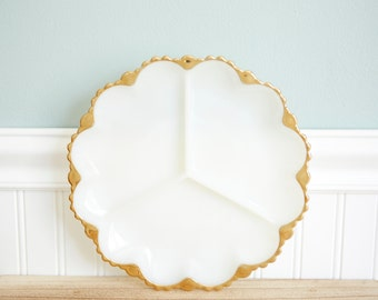 Milk Glass -Divided Serving Plate-Milk Glass Plate with Gold Trim- Sectioned Milk Glass Plate- Fire King- Vintage Plate -1960-Wedding Decor
