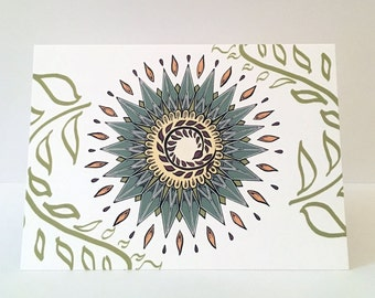 Floral Sun Greeting Card.