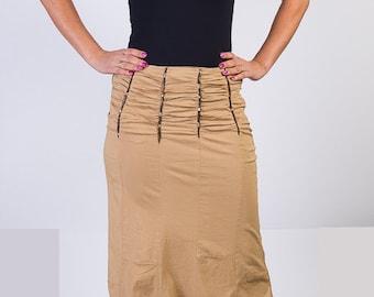 vintage skirt, 80s ,long skirt ,summer skirt, beige maxi skirt, elastic skirt, size medium,elastic skirt, hippie boho skirt, Size M